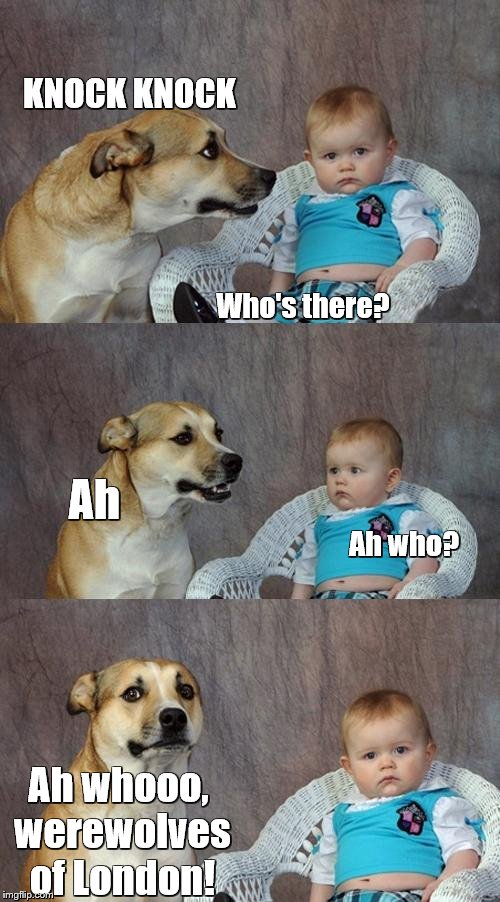 Dad Joke Dog | KNOCK KNOCK Who's there? Ah Ah who? Ah whooo, werewolves of London! | image tagged in memes,dad joke dog,knock knock,bad puns,song lyrics,werewolf | made w/ Imgflip meme maker