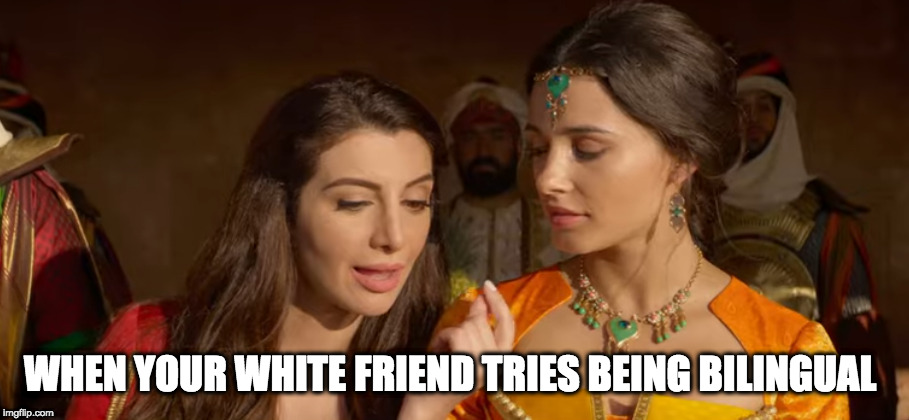 WHEN YOUR WHITE FRIEND TRIES BEING BILINGUAL | image tagged in ignorance,funny,aladdin | made w/ Imgflip meme maker