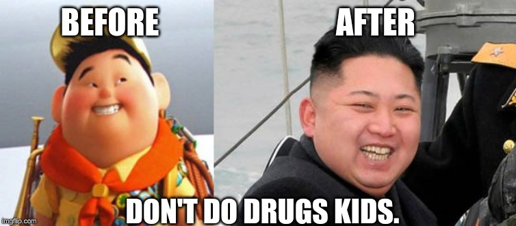 another actor's career tragically ruined. | BEFORE AFTER DON'T DO DRUGS KIDS. | image tagged in happy kim jong un,russell,drugs are bad,memes,dank memes,north korea | made w/ Imgflip meme maker