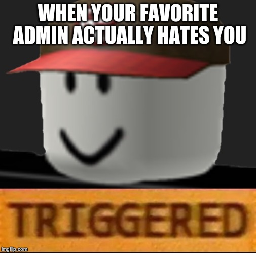 Roblox Triggered |  WHEN YOUR FAVORITE ADMIN ACTUALLY HATES YOU | image tagged in roblox triggered | made w/ Imgflip meme maker