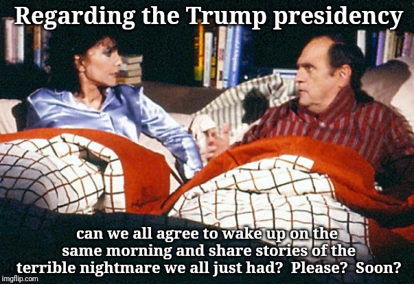 Regarding the Trump presidency can we all agree to wake up on the same morning and share stories of the terrible nightmare we all just had?  | image tagged in last scene newhart | made w/ Imgflip meme maker