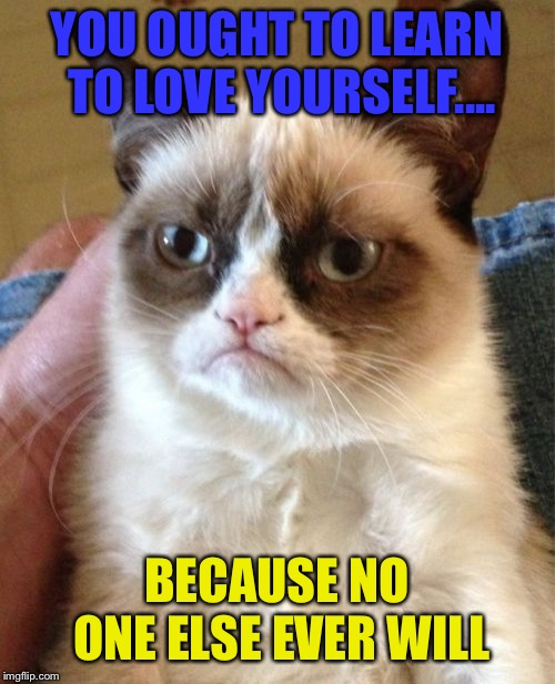 Grumpy Cat | YOU OUGHT TO LEARN TO LOVE YOURSELF.... BECAUSE NO ONE ELSE EVER WILL | image tagged in memes,grumpy cat,rip grumpy cat,love | made w/ Imgflip meme maker