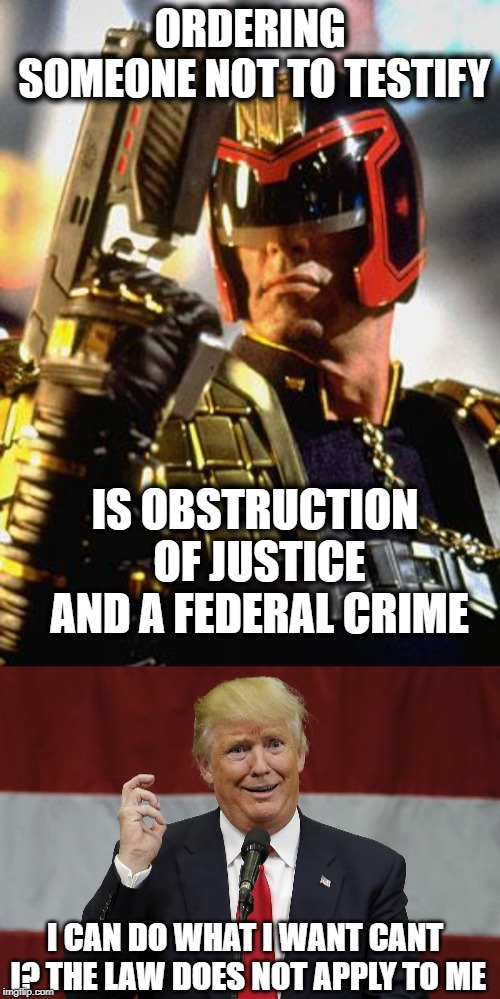 Blatant Obstruction of Justice | ORDERING SOMEONE NOT TO TESTIFY IS OBSTRUCTION OF JUSTICE AND A FEDERAL CRIME I CAN DO WHAT I WANT CANT I? THE LAW DOES NOT APPLY TO ME | image tagged in memes,politics,maga,impeach trump,crime | made w/ Imgflip meme maker