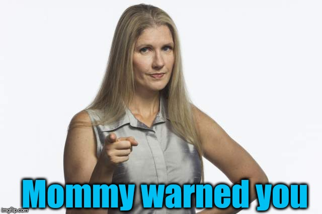 scolding mom | Mommy warned you | image tagged in scolding mom | made w/ Imgflip meme maker