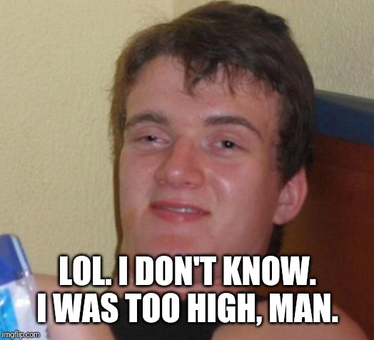 10 Guy Meme | LOL. I DON'T KNOW. I WAS TOO HIGH, MAN. | image tagged in memes,10 guy | made w/ Imgflip meme maker