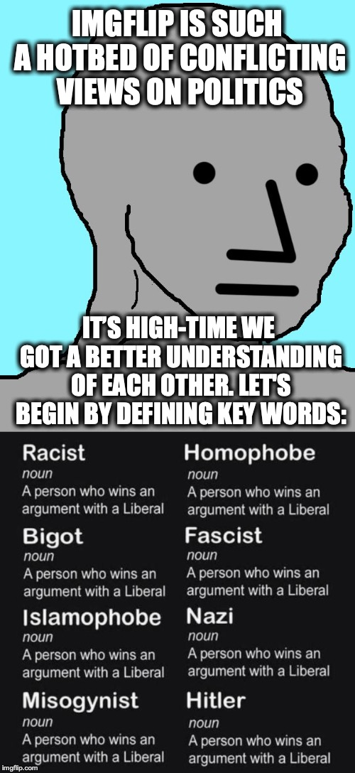 IMGFLIP IS SUCH A HOTBED OF CONFLICTING VIEWS ON POLITICS IT'S HIGH-TIME WE GOT A BETTER UNDERSTANDING OF EACH OTHER. LET'S BEGIN BY DEFININ | image tagged in memes,npc,understanding,vocabulary | made w/ Imgflip meme maker