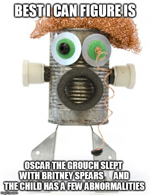 Oscar  POUNDED  IT! | BEST I CAN FIGURE IS OSCAR THE GROUCH SLEPT WITH BRITNEY SPEARS      AND THE CHILD HAS A FEW ABNORMALITIES | image tagged in oscar the grouch,with britney spears,slept with her,they had a child,figure,and | made w/ Imgflip meme maker