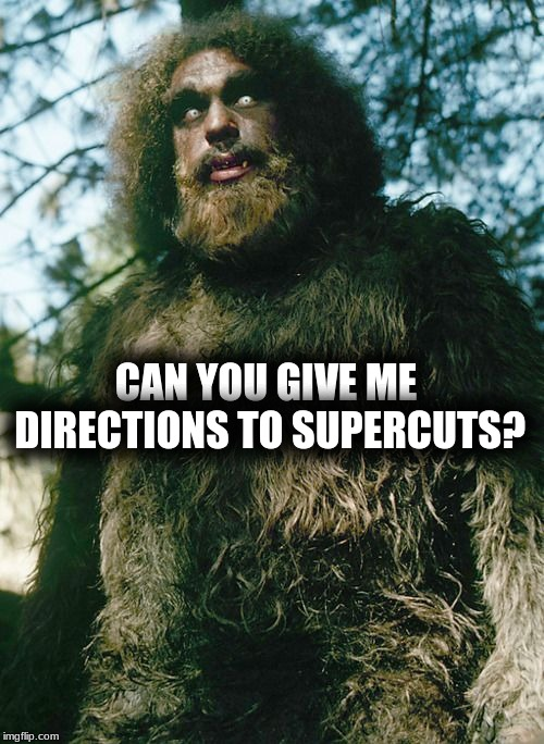 maybe just a trim... | CAN YOU GIVE ME DIRECTIONS TO SUPERCUTS? | image tagged in bigfoot,haircut,i am groot,what do we want,what in tarnation | made w/ Imgflip meme maker
