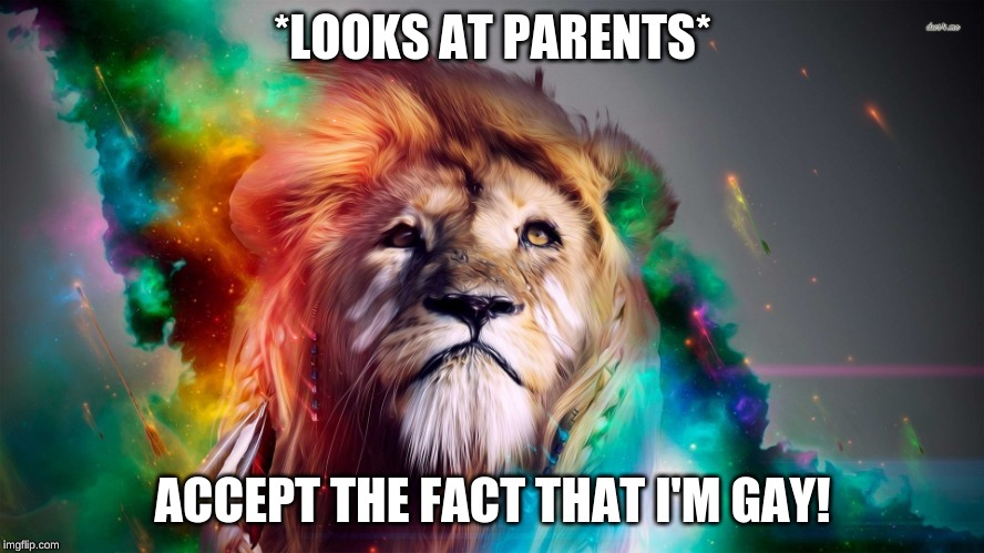 Accept Me For Who I Am | *LOOKS AT PARENTS* ACCEPT THE FACT THAT I'M GAY! | image tagged in majestic rainbow lion,memes,gay,lgbtq | made w/ Imgflip meme maker