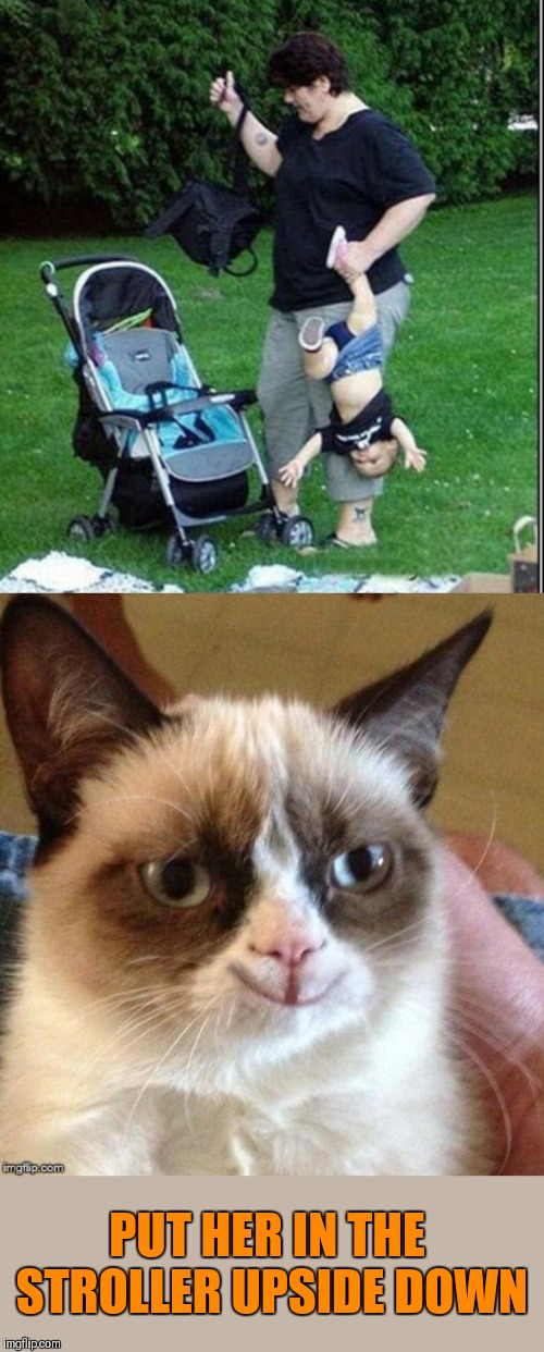 PLEASE | PUT HER IN THE STROLLER UPSIDE DOWN | image tagged in grumpy smile,memes,funny,grumpy cat,parenting,44colt | made w/ Imgflip meme maker