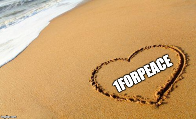 Beach Heart  | 1FORPEACE | image tagged in beach heart | made w/ Imgflip meme maker