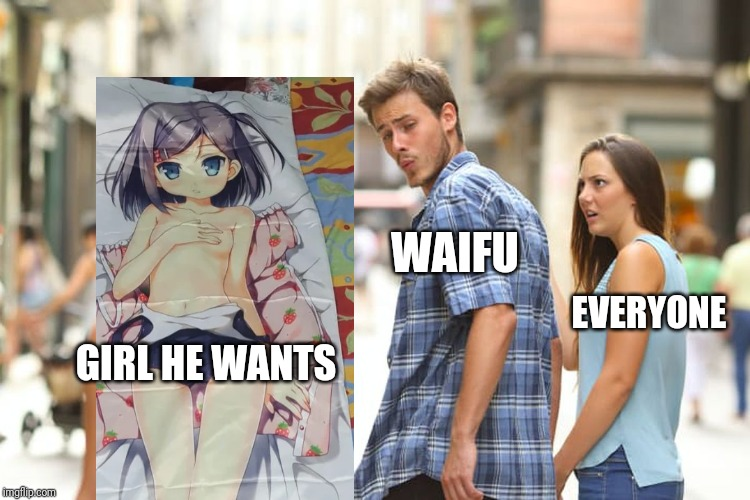 GIRL HE WANTS WAIFU EVERYONE | image tagged in memes,distracted boyfriend | made w/ Imgflip meme maker