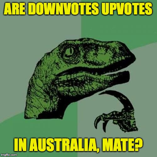 Philosoraptor |  ARE DOWNVOTES UPVOTES; IN AUSTRALIA, MATE? | image tagged in memes,philosoraptor,australia,upvotes,downvotes | made w/ Imgflip meme maker