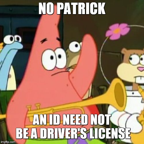 NO PATRICK AN ID NEED NOT BE A DRIVER'S LICENSE | image tagged in memes,no patrick | made w/ Imgflip meme maker