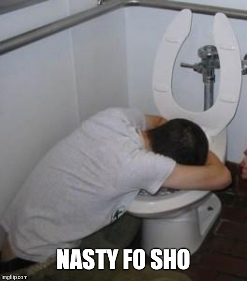 Drunk puking toilet | NASTY FO SHO | image tagged in drunk puking toilet | made w/ Imgflip meme maker