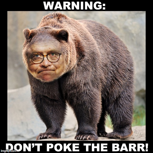 Don't Poke the Barr | image tagged in barr,politics,william barr,congress,donald trump,political humor | made w/ Imgflip meme maker