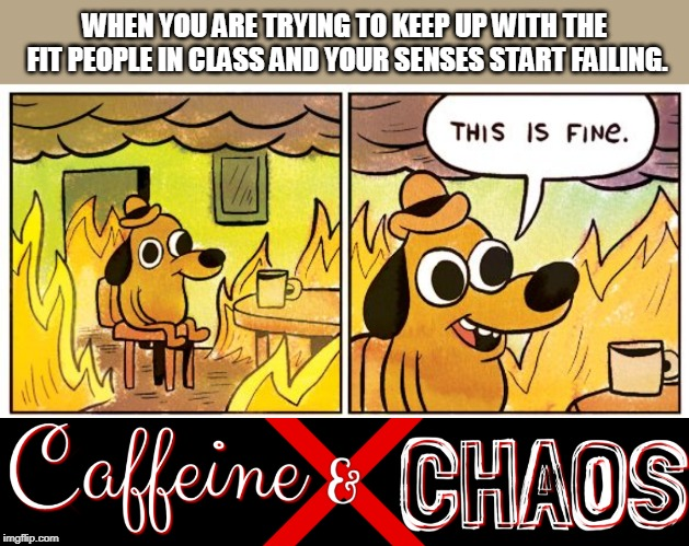 WHEN YOU ARE TRYING TO KEEP UP WITH THE FIT PEOPLE IN CLASS AND YOUR SENSES START FAILING. | image tagged in this is fine dog | made w/ Imgflip meme maker