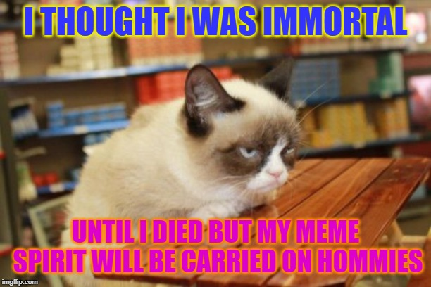 Grumpy Cat Table |  I THOUGHT I WAS IMMORTAL; UNTIL I DIED BUT MY MEME SPIRIT WILL BE CARRIED ON HOMMIES | image tagged in memes,grumpy cat table,grumpy cat | made w/ Imgflip meme maker