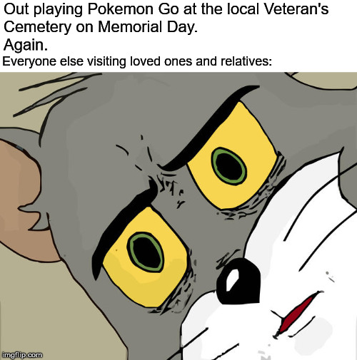 Remembering those who gave their all for Freedom. | Out playing Pokemon Go at the local Veteran's Cemetery on Memorial Day.                                                                      | image tagged in memes,unsettled tom,memorial day,pokemon go,disturbing,inappropriate | made w/ Imgflip meme maker