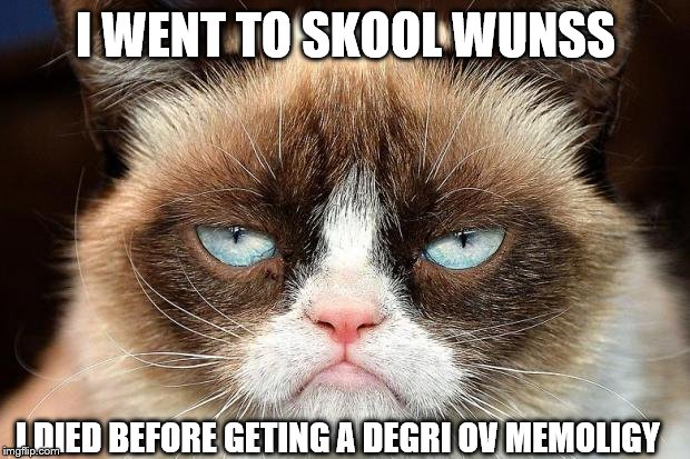 Grumpy Cat Not Amused Meme | I WENT TO SKOOL WUNSS I DIED BEFORE GETING A DEGRI OV MEMOLIGY | image tagged in memes,grumpy cat not amused,grumpy cat | made w/ Imgflip meme maker