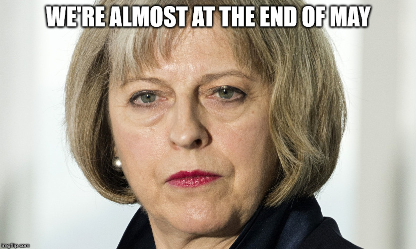theresa may | WE'RE ALMOST AT THE END OF MAY | image tagged in theresa may | made w/ Imgflip meme maker