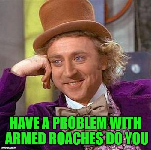 Creepy Condescending Wonka Meme | HAVE A PROBLEM WITH ARMED ROACHES DO YOU | image tagged in memes,creepy condescending wonka | made w/ Imgflip meme maker