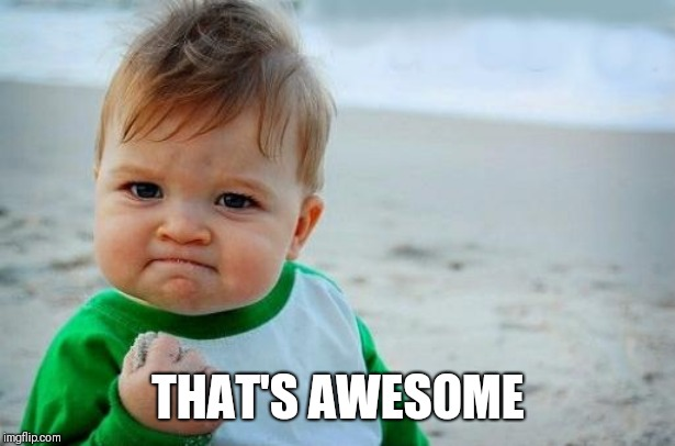 Yes Baby | THAT'S AWESOME | image tagged in yes baby | made w/ Imgflip meme maker