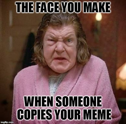 doesn't it piss you off? | THE FACE YOU MAKE WHEN SOMEONE COPIES YOUR MEME | image tagged in angry woman | made w/ Imgflip meme maker