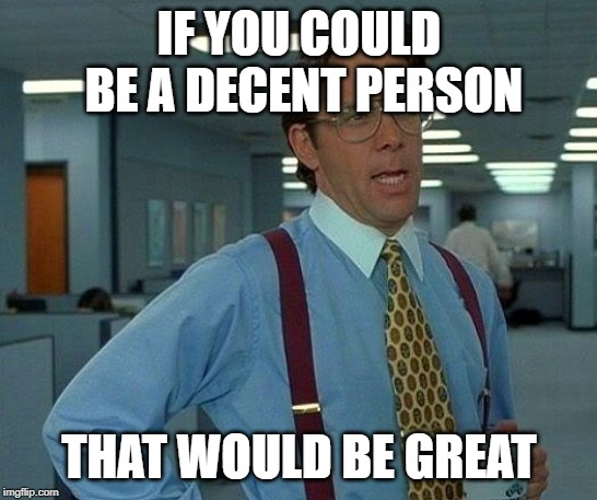 IF YOU COULD BE A DECENT PERSON THAT WOULD BE GREAT | image tagged in memes,that would be great | made w/ Imgflip meme maker