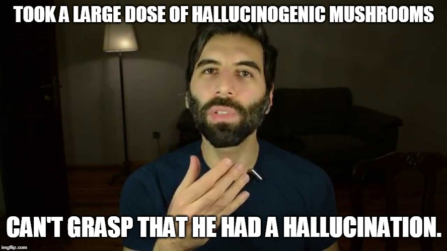 TOOK A LARGE DOSE OF HALLUCINOGENIC MUSHROOMS; CAN'T GRASP THAT HE HAD A HALLUCINATION. | image tagged in roosh | made w/ Imgflip meme maker