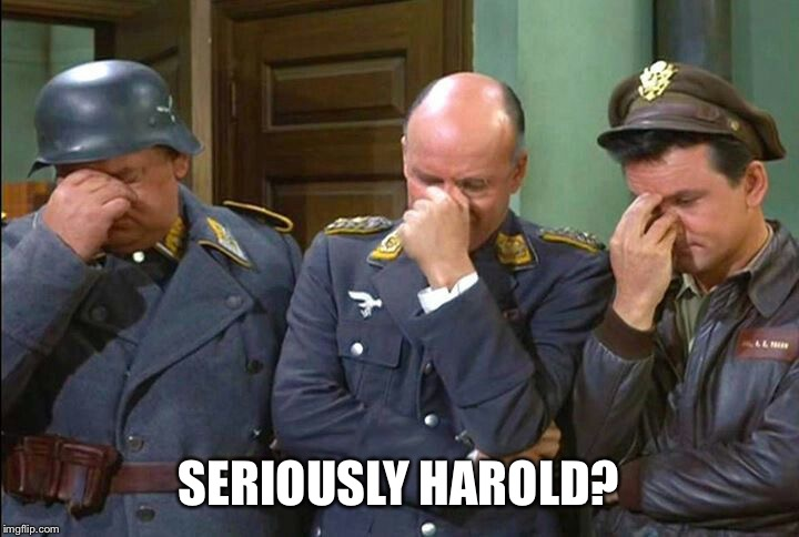 Hogan's Heroes Triple Facepalm | SERIOUSLY HAROLD? | image tagged in hogan's heroes triple facepalm | made w/ Imgflip meme maker