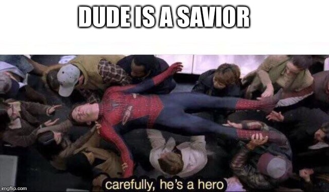 DUDE IS A SAVIOR | image tagged in carefully he's a hero | made w/ Imgflip meme maker