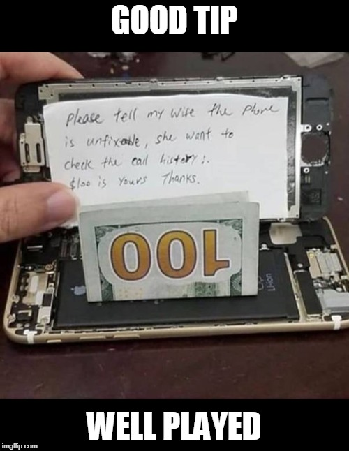 GOOD TIP WELL PLAYED | image tagged in wife,cell phone,repair | made w/ Imgflip meme maker