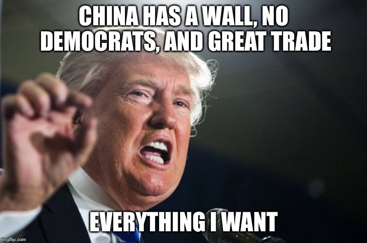 He's just jealous | CHINA HAS A WALL, NO DEMOCRATS, AND GREAT TRADE EVERYTHING I WANT | image tagged in donald trump | made w/ Imgflip meme maker