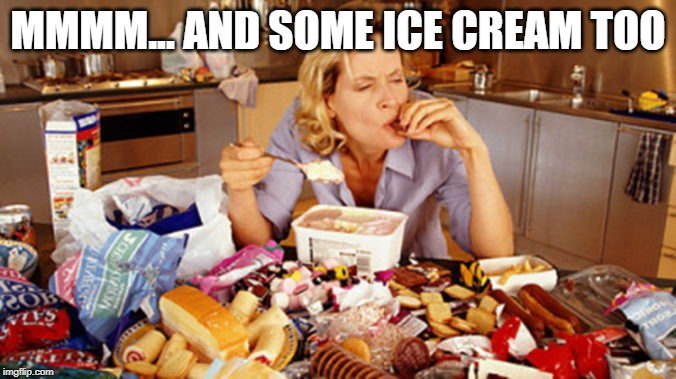 pig out | MMMM... AND SOME ICE CREAM TOO | image tagged in pig out | made w/ Imgflip meme maker
