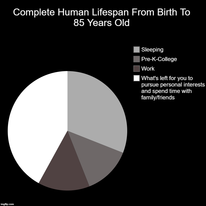 I ran the numbers, and this is the result. The only question is, what are you going to do with that time? | Complete Human Lifespan From Birth To 85 Years Old | What's left for you to pursue personal interests and spend time with family/friends, Wo | image tagged in charts,pie charts,time | made w/ Imgflip chart maker
