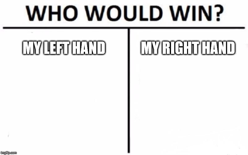 Who Would Win? | MY LEFT HAND MY RIGHT HAND | image tagged in memes,who would win | made w/ Imgflip meme maker