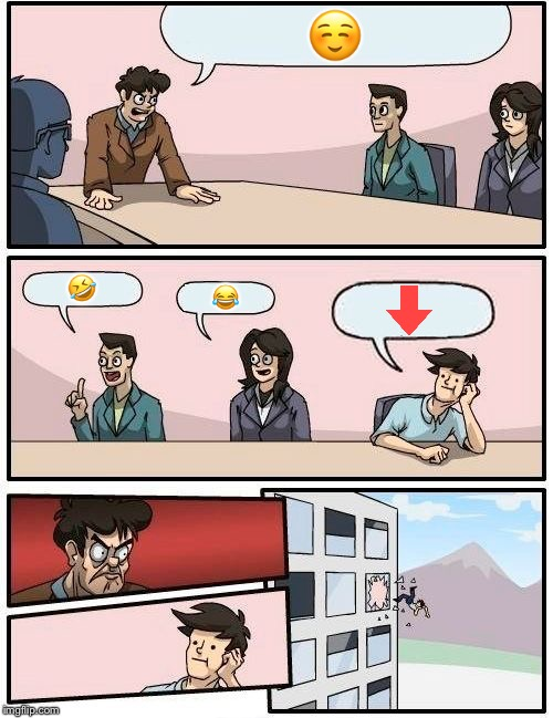 Boardroom Meeting Suggestion | ☺️ ? ? | image tagged in memes,boardroom meeting suggestion | made w/ Imgflip meme maker