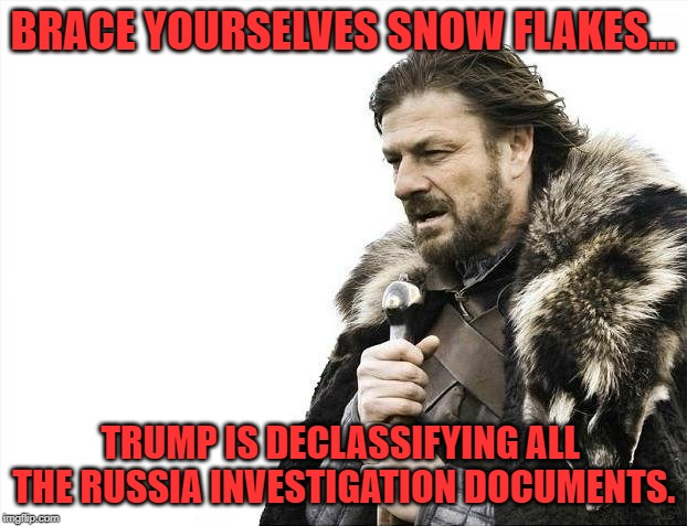 Brace Yourselves X is Coming | BRACE YOURSELVES SNOW FLAKES... TRUMP IS DECLASSIFYING ALL THE RUSSIA INVESTIGATION DOCUMENTS. | image tagged in memes,brace yourselves x is coming,donald trump,snowflakes,trump russia collusion | made w/ Imgflip meme maker