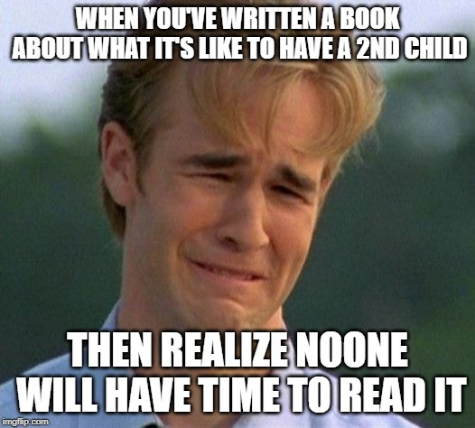 1990s First World Problems Meme | WHEN YOU'VE WRITTEN A BOOK ABOUT WHAT IT'S LIKE TO HAVE A 2ND CHILD THEN REALIZE NOONE WILL HAVE TIME TO READ IT | image tagged in memes,1990s first world problems | made w/ Imgflip meme maker