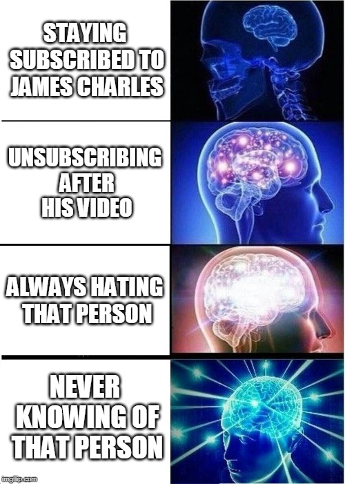 Expanding Brain | STAYING SUBSCRIBED TO JAMES CHARLES UNSUBSCRIBING AFTER HIS VIDEO ALWAYS HATING THAT PERSON NEVER KNOWING OF THAT PERSON | image tagged in memes,expanding brain | made w/ Imgflip meme maker