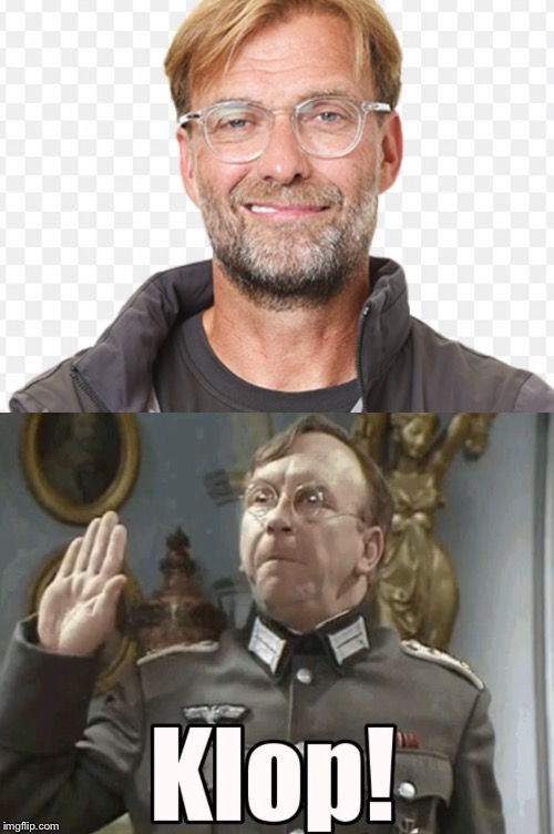 Is it just me or does anyone else think allo allo's Captain Hans Geering and Juergen klopp look like long lost brothers. | image tagged in uncanny,to,look,like,your,catch phrase | made w/ Imgflip meme maker