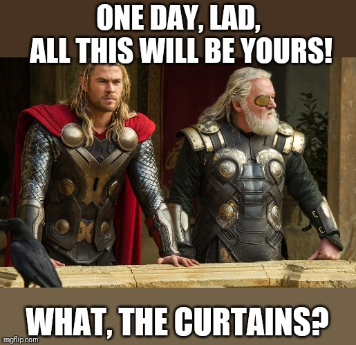 ONE DAY, LAD, ALL THIS WILL BE YOURS! WHAT, THE CURTAINS? | image tagged in monty python and the holy grail,monty python,thor,crossover | made w/ Imgflip meme maker