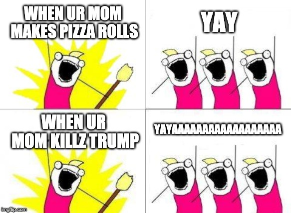 What Do We Want | WHEN UR MOM MAKES PIZZA ROLLS YAY WHEN UR MOM KILLZ TRUMP YAYAAAAAAAAAAAAAAAAAA | image tagged in memes,what do we want | made w/ Imgflip meme maker