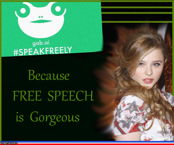 GAB- Free Speech is Gorgeous | image tagged in gab,free speech,chloe grace moretz,babes,censorship,moderators | made w/ Imgflip meme maker