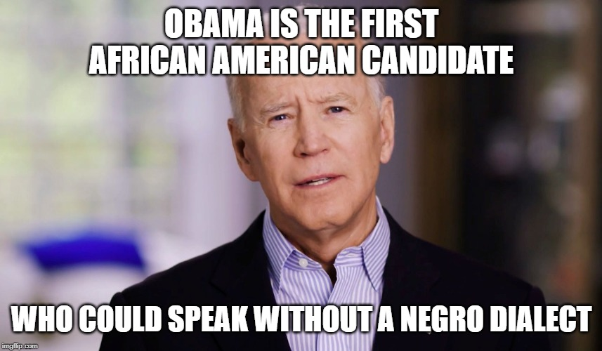 Joe Biden 2020 |  OBAMA IS THE FIRST AFRICAN AMERICAN CANDIDATE; WHO COULD SPEAK WITHOUT A NEGRO DIALECT | image tagged in joe biden 2020 | made w/ Imgflip meme maker