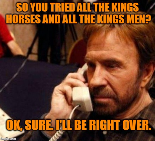 CHUCK NORRIS | SO YOU TRIED ALL THE KINGS HORSES AND ALL THE KINGS MEN? OK, SURE. I'LL BE RIGHT OVER. | image tagged in chuck norris | made w/ Imgflip meme maker
