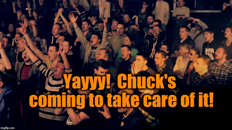 Clapping audience | Yayyy!  Chuck's coming to take care of it! | image tagged in clapping audience | made w/ Imgflip meme maker