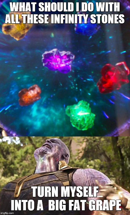 Thanos Infinity Stones | WHAT SHOULD I DO WITH ALL THESE INFINITY STONES TURN MYSELF INTO A  BIG FAT GRAPE | image tagged in thanos infinity stones | made w/ Imgflip meme maker