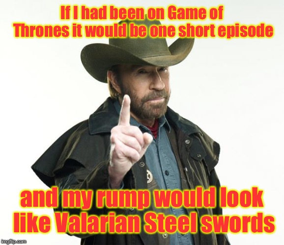 And the Night King would have apologized verbally to me |  If I had been on Game of Thrones it would be one short episode; and my rump would look like Valarian Steel swords | image tagged in memes,chuck norris finger,chuck norris,game of thrones,short series,winner | made w/ Imgflip meme maker